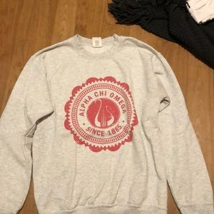 Gray and red Alpha Chi Omega lyre sweatshirt
